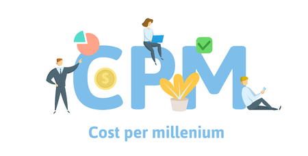 CPM, cost per mille, cost per millenium. Concept with keywords, letters, and icons. Colored flat vector illustration. Isolated on white background.