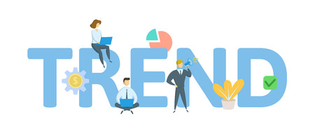 TREND. Concept with keywords, letters, and icons. Colored flat vector illustration. Isolated on white background.