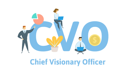 CVO, chief visionary officer. Concept with keywords, letters and icons. Colored flat vector illustration on white background.