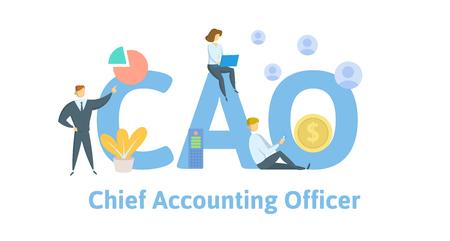 CAO, chef de la comptabilité. Concept avec des mots-clés, des lettres et des icônes. Illustration vectorielle plane colorée sur fond blanc.