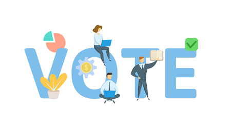 Vote banner with people. Concept with keywords, letters, and icons. Фото со стока