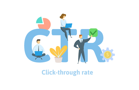 CTR, click trough rate. Concept with keywords, letters, and icons.