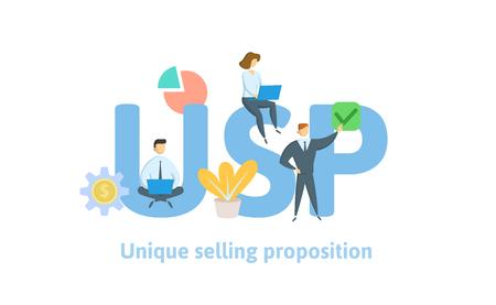 USP, proposition de vente unique. Concept avec des mots-clés, des lettres et des icônes. Illustration vectorielle plane colorée. Isolé sur fond blanc. Vecteurs