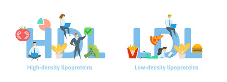 HDL and LDL banner ideas. Concept with keywords, letters, food, and icons. Colored flat vector illustration. Isolated on white background.