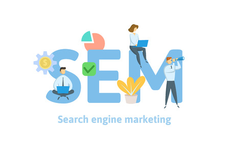 SEM, search engine marketing. Concept with keywords, letters, and icons. Colored flat vector illustration. Isolated on white background.
