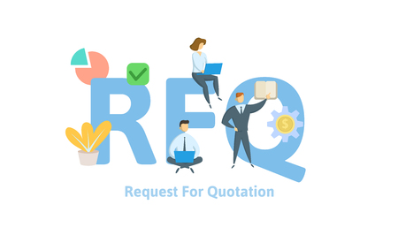RFQ, Request For Quotation acronym. Concept with keywords, letters, and icons. Colored flat vector illustration. Isolated on white background. Ilustração