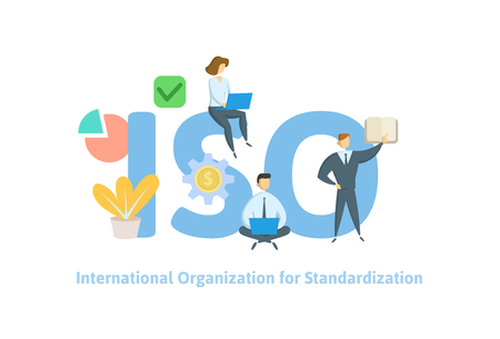 ISO standart, International Organization for Standardization. Concept with people, letters, and icons. Colored flat vector illustration on white background. Ilustração