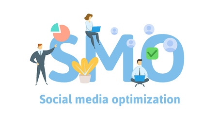 SMO, social media optimization. Concept with keywords, letters, and icons.