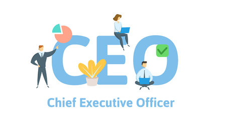 CEO, Chief Executive Officer. Concept with keywords, letters, and icons. Colored flat vector illustration. Isolated on white background.
