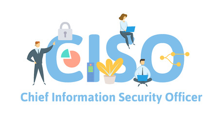 CISO, Chief Information Security Officer. Concept with keywords, letters, and icons.