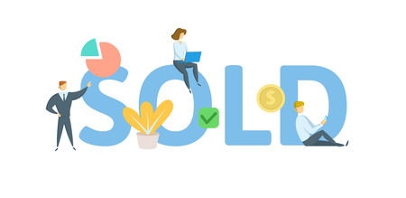 SOLD. Concept with keywords, letters, and icons. Colored flat vector illustration. Isolated on white background. Иллюстрация
