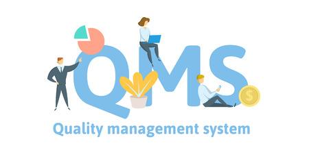 QMS, system zarządzania jakością. Koncepcja ze słowami kluczowymi, literami i ikonami.
