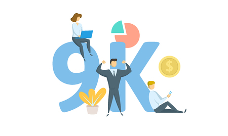 9K likes, followers online social media banner. Concept with keywords, letters, and icons. Colored flat vector illustration. Isolated on white background. Иллюстрация