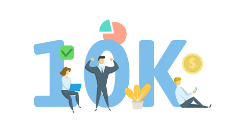 10K likes online social media banner. Concept with keywords, letters, and icons. Colored flat vector illustration. Isolated on white background.