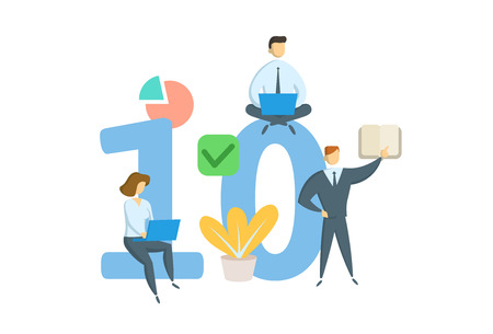 Number ten 10. Concept with keywords, letters, and icons. Colored flat vector illustration. Isolated on white background. Иллюстрация