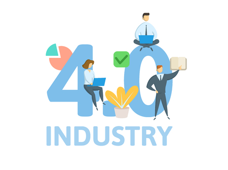Industry 4.0. Concept with keywords, letters, and icons. Colored flat vector illustration. Isolated on white background
