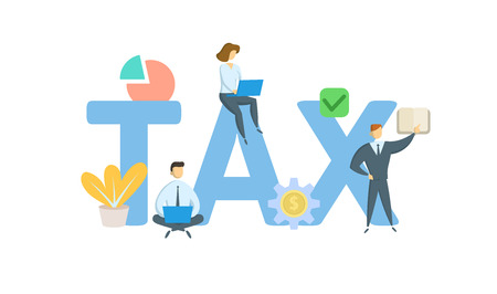TAX. Concept with keywords, letters, and icons. Colored flat vector illustration. Isolated on white background. Иллюстрация