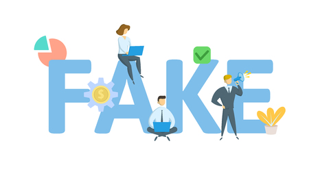 FAKE. Concept with keywords, letters, and icons. Colored flat vector illustration. Isolated on white background.