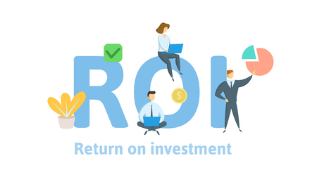 ROI, Return On Investment. Concept with keywords, letters, and icons. Illustration