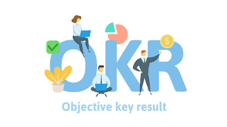 OKR, Ziele und Schlüsselergebnisse. Konzept mit Schlüsselwörtern, Buchstaben und Symbolen. Vektorgrafik