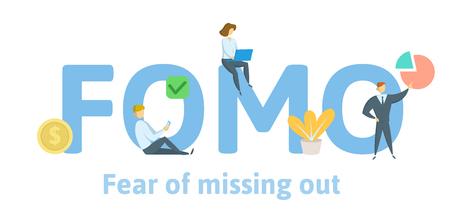 FOMO-Angst, etwas zu verpassen. Konzept mit Schlüsselwörtern, Buchstaben und Symbolen. Farbige flache Vektorillustration. Isoliert auf weißem Hintergrund. Vektorgrafik