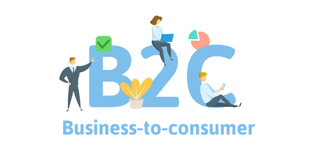 B2C, business to consumer. Concept with keywords, letters, and icons.