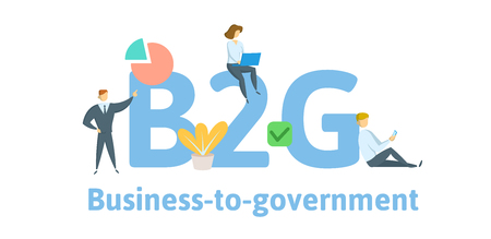 B2G Business to Government. Concept with keywords, letters, and icons.
