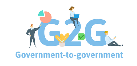 G2G, Government to Government. Concept with keywords, letters, and icons. Colored flat vector illustration. Isolated on white background.