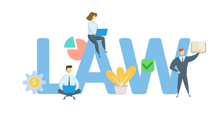 LAW. Concept with keywords, letters, and icons. Colored flat vector illustration. Isolated on white background. Çizim