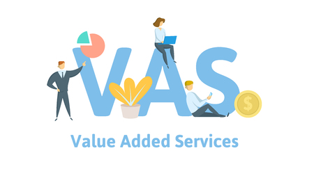 VAS, Value Added Services. Concept with keywords, letters, and icons.