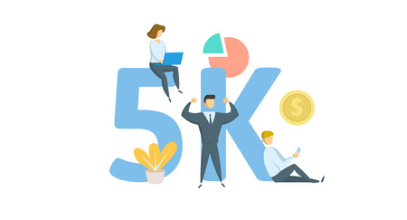 5K likes, followers online social media banner. Concept with keywords, letters, and icons. Colored flat vector illustration. Isolated on white background.