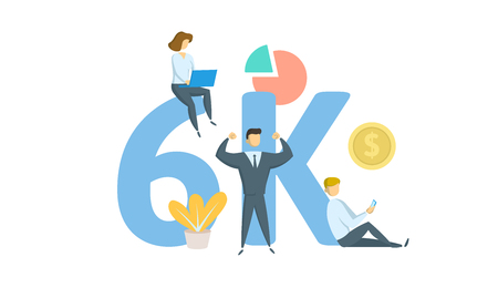 6K likes, followers online social media banner. Concept with keywords, letters, and icons. Colored flat vector illustration. Isolated on white background.
