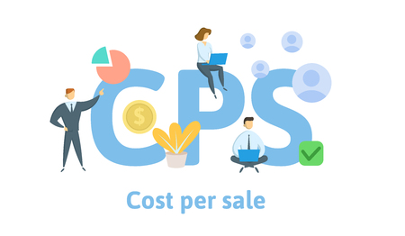 CPS, cost per sale. Concept with keywords, letters, and icons.