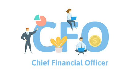 Directeur Financier, Directeur Financier. Concept avec des mots-clés, des lettres et des icônes.