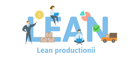Lean Production. Concept with keywords, letters and icons. Colored flat vector illustration. Isolated on white background.