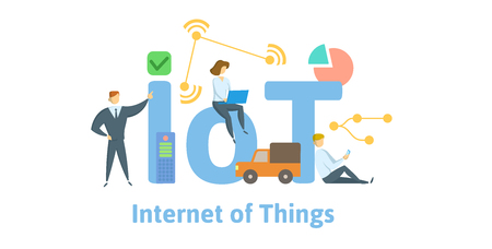 IoT, Internet of Things. Concept with keywords, letters and icons.