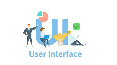 UI, user experience, user interface. Concept with keywords, letters, and icons.
