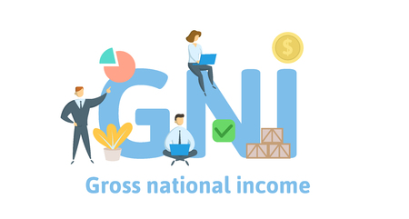 GNI, Gross National Income acronym. Concept with keywords, letters and icons.