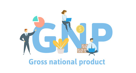 GNP, gross national product. Concept with keywords, letters and icons.