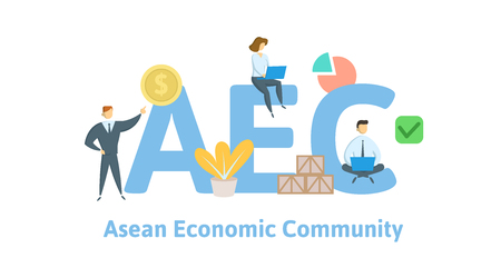 AEC, Concept with keywords, letters and icons. Illustration