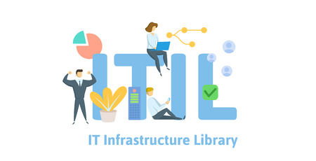 ITIL, Information Technology Infrastructure Library. Concept with keywords, letters and icons. Colored flat vector illustration. Isolated on white background.