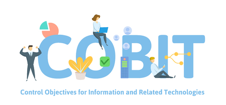 COBIT, Control Objectives for Information and Related Technologies. Concept with keywords, letters and icons. Colored flat vector illustration. Isolated on white background.