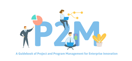 P2M, A Guidebook for Project and Program Management for Enterprise Innovation. Concept with keywords, letters and icons. Colored flat vector illustration. Isolated on white background.