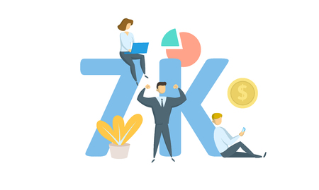7K likes, followers online social media banner. Concept with keywords, letters, and icons. Colored flat vector illustration. Isolated on white background.