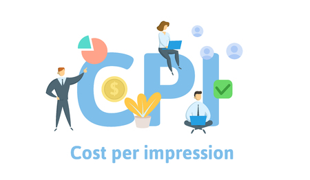 CPI, cost per impression. Concept with keywords, letters, and icons. Colored flat vector illustration. Isolated on white background. Illustration