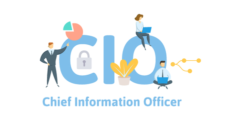 CIO, Chief Information Officer. Concept with keywords, letters, and icons. Colored flat vector illustration. Isolated on white background. Ilustração