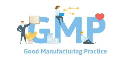 GMP, buone pratiche di fabbricazione. Concetto con parole chiave, lettere e icone. Illustrazione vettoriale piatto colorato. Isolato su sfondo bianco.