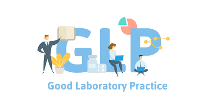 GLP, Good Laboratory Practice. Concept with keywords, letters and icons. Colored flat vector illustration. Isolated on white background.