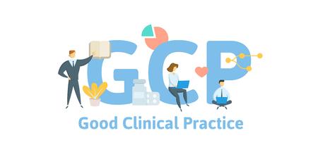 GCP, goede klinische praktijk. Concept met trefwoorden, letters en pictogrammen. Gekleurde platte vectorillustratie. Geïsoleerd op een witte achtergrond.