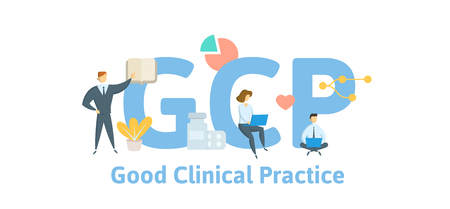 GCP, Good Clinical Practice. Concept with keywords, letters and icons. Colored flat vector illustration. Isolated on white background.